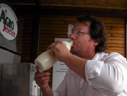 Dean drinking raw milk
